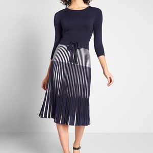 Modcloth Navy White Wowing Crowd Sweater Dress